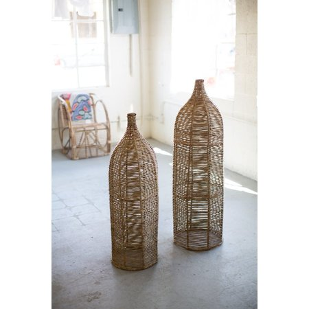 Kalalou Set Of Two Large Seagrass And Iron Bottles