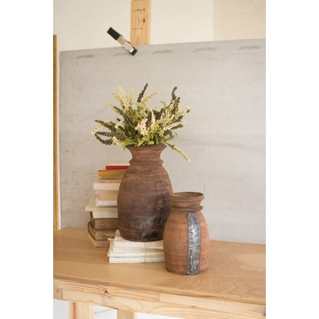 Kalalou Set Of Two Mango Wood Urns