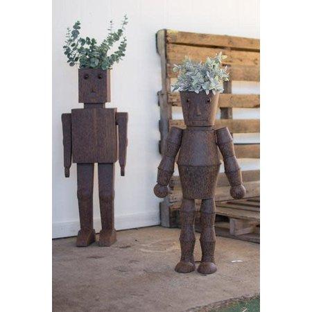 Kalalou Set Of Two Metal Robot Planters