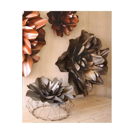 Kalalou Set Of Two Metal Wall Flowers - Raw Finish
