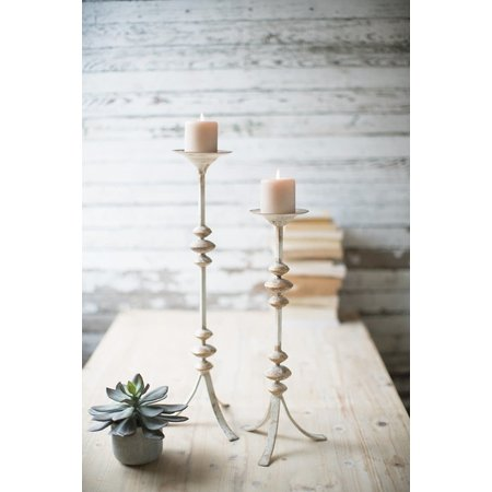 Kalalou Set Of Two Painted Metal Candle Towers