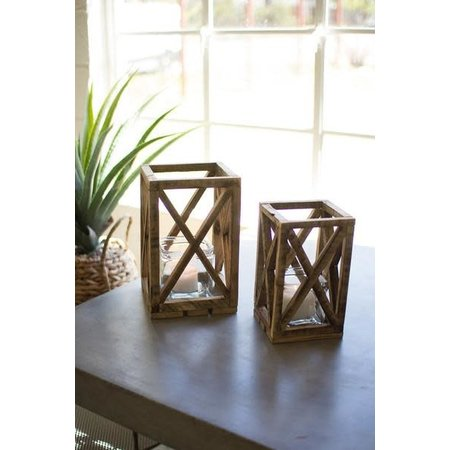Kalalou Set Of Two Recycled Wooden Lanterns With Glass Insert