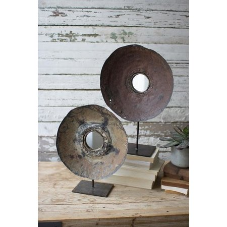 Kalalou Set Of Two Repurposed Metal Mirrors On Stands