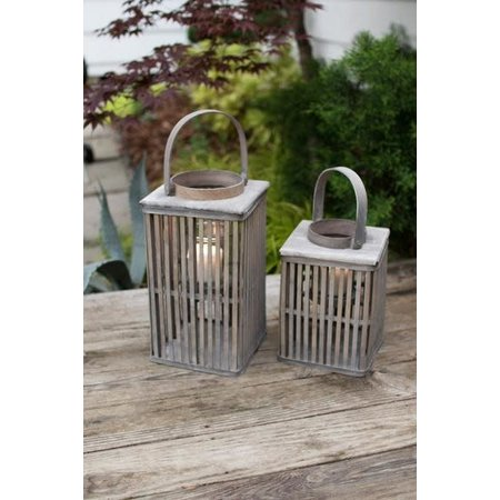 Kalalou Set Of Two Square  Bamboo Lanterns With Glass - Grey