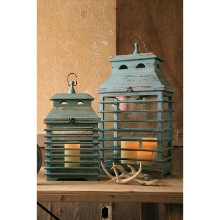 Kalalou Set Of Two Vintage Blue Shutter Lanterns