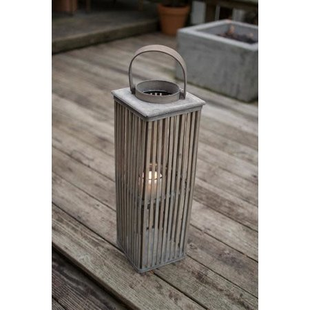 Kalalou Small Square Bamboo Lantern With Glass - Grey