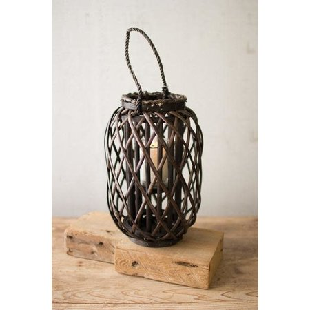 Kalalou Small Willow Lantern With Glass - Dark Brown