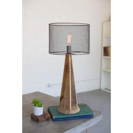 Kalalou Table Lamp - Mesh Shade With Wooden Base #1