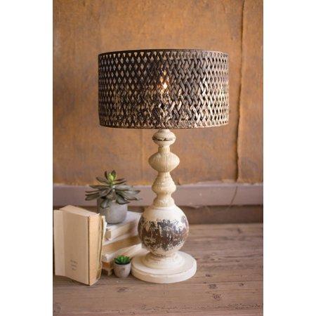 Kalalou Table Lamp - Round Metal Base With Perforated Metal Shade