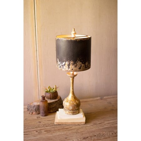 Kalalou Table Lamp - Round Wooden Base W Black & Gold Metal Shade