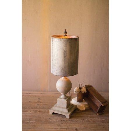 Kalalou Table Lamp - Wood And Metal Base With Tall Metal Shade