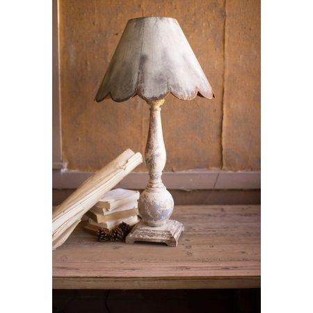 Kalalou Table Lamp - Wood Base With Rustic Scalloped Metal Shade