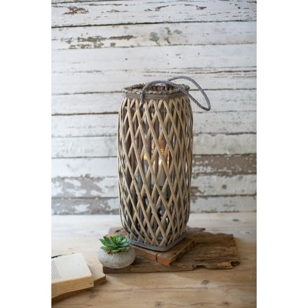 Kalalou Tall Grey Square Willow Lantern - Small