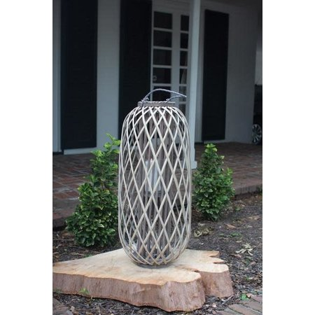 Kalalou Tall Grey Willow Lantern With Glass - Large