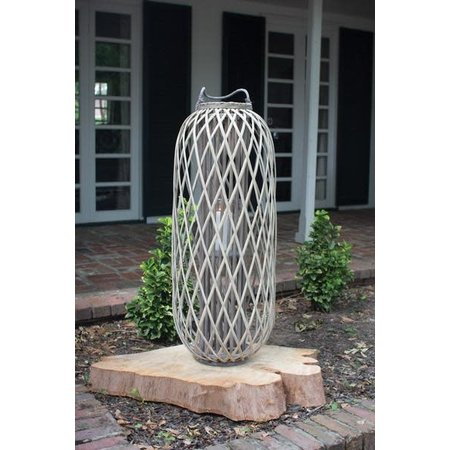 Kalalou Tall Grey Willow Lantern With Glass - Small