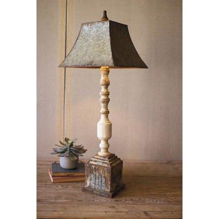 Kalalou Tall Turned Banister Lamp With Metal Shade