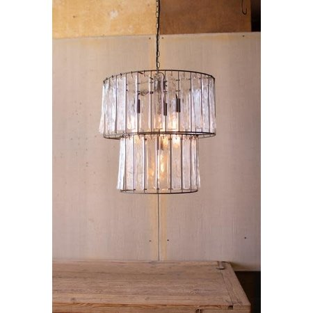 Kalalou Two Tiered Round Pendant Light With Glass Chimes