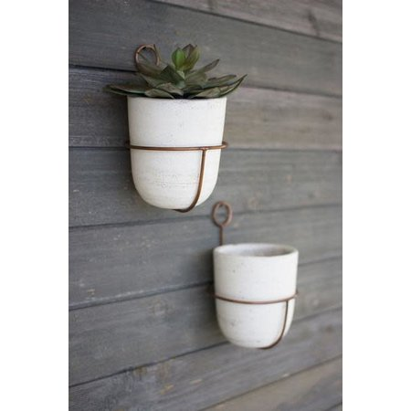 Kalalou White Wash Clay Flower Bell W/ Copper Finish Wall Mount