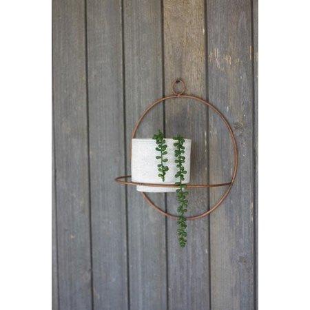 Kalalou White Wash Clay Pot W/copper Finish Round Wall Sconce