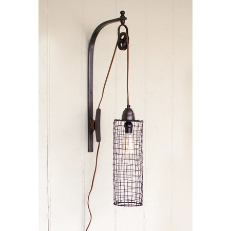 Kalalou Wire Cylinder Wall Lamp With Pulley