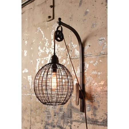 Kalalou Wire Sphere Wall Sconce With Pulley