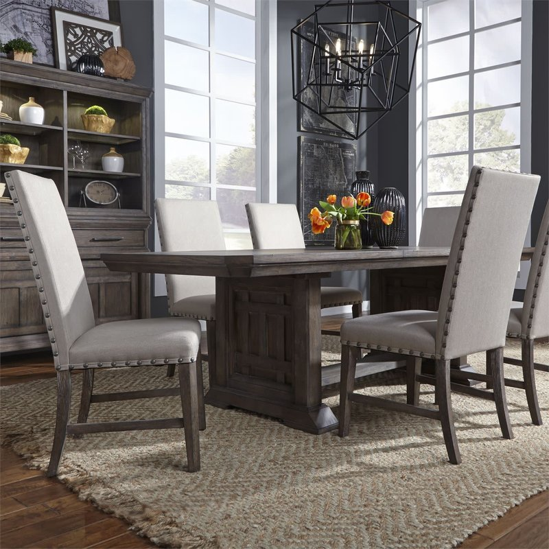 Liberty Artisan Prairie 7 Piece Trestle Table Set