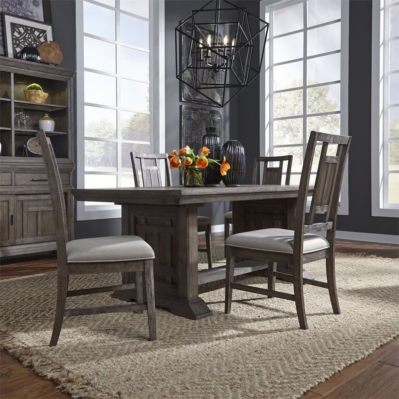 Liberty Artisan Prairie Opt 5 Piece Trestle Table Set