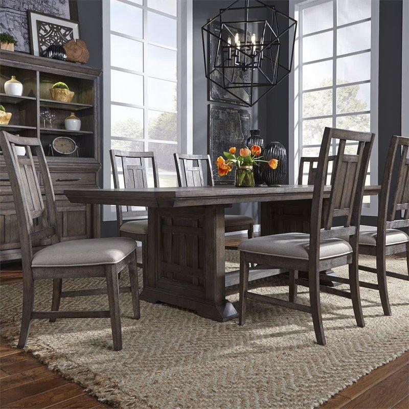 Liberty Artisan Prairie Opt 7 Piece Trestle Table Set