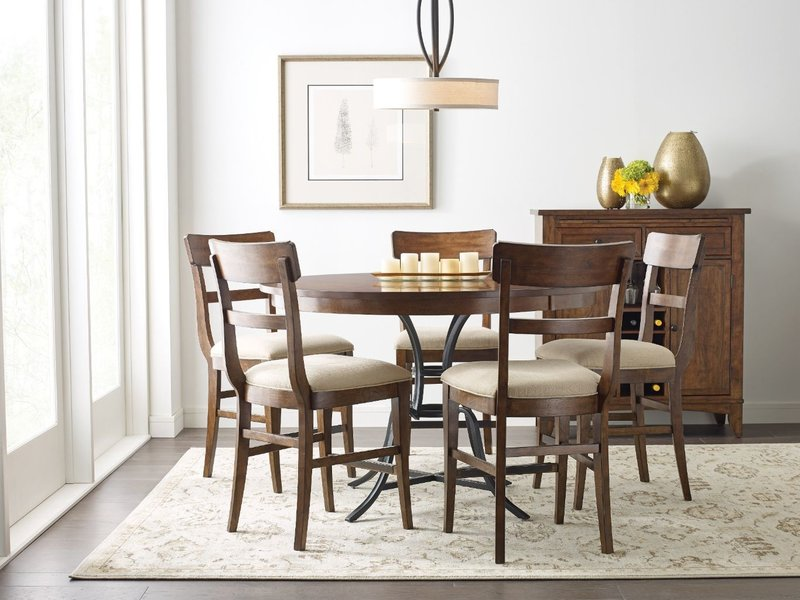 """Kincaid 54"""" Round Counter Height Table With Metal Base"""