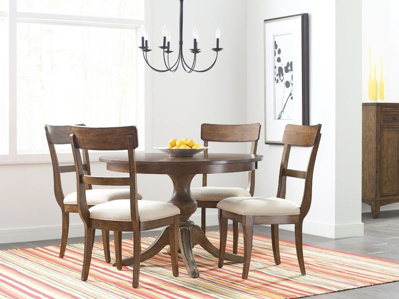 """Kincaid 44"""" Round Dining Table With Wood Base"""