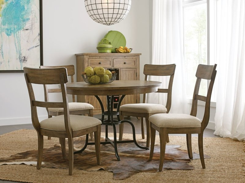"""Kincaid 44"""" Round Dining Table With Metal Base"""