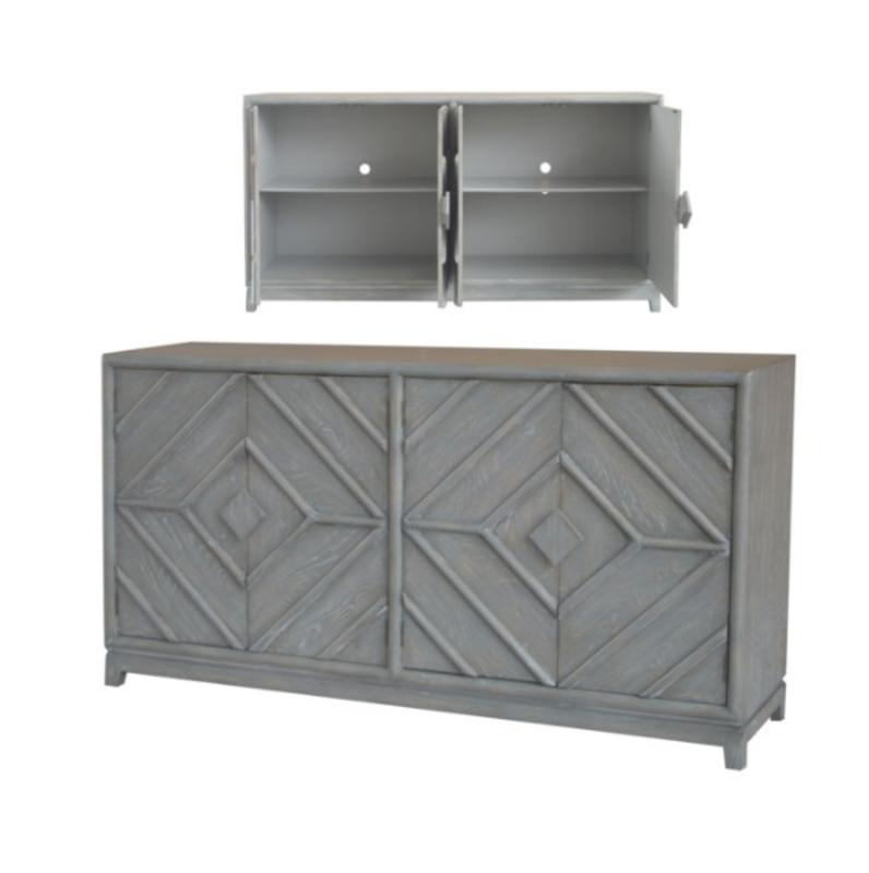 Crestview 4 Door Diamond Design Grey Oak Sideboard
