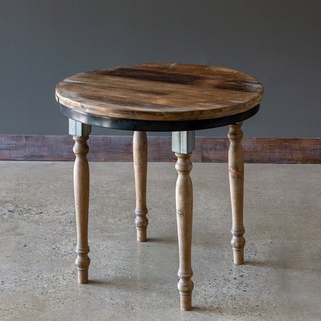 Park Hill Furniture Round Wood Display Table With Metal Apron