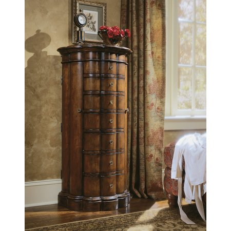 Hooker Furniture Shaped Jewelry Armoire-Cherry