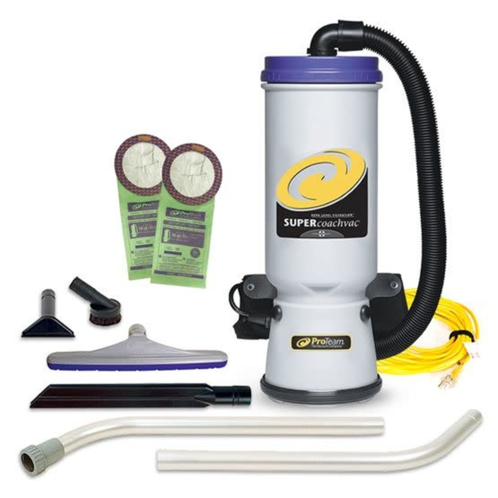 ProTeam Commercial Vacuums Super CoachVac 10 qt. Backpack Vacuum w/ Xover Multi-Surface Two-Piece Wand Tool Kit