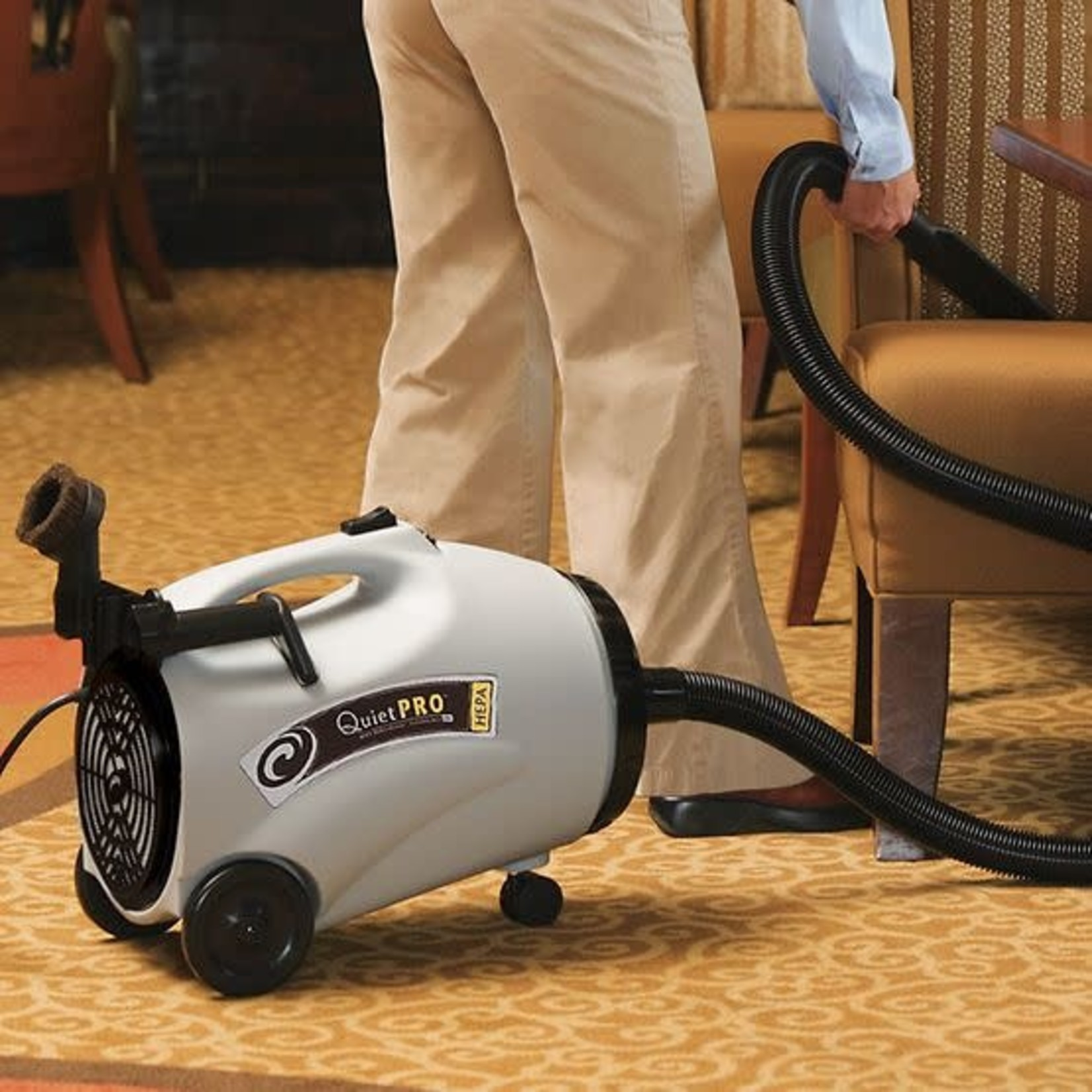 ProTeam Commercial Vacuums ProTeam QuietPro CN HEPA 10 qt. Canister Vacuum w/ Xover Multi-Surface Telescoping Wand Tool Kit