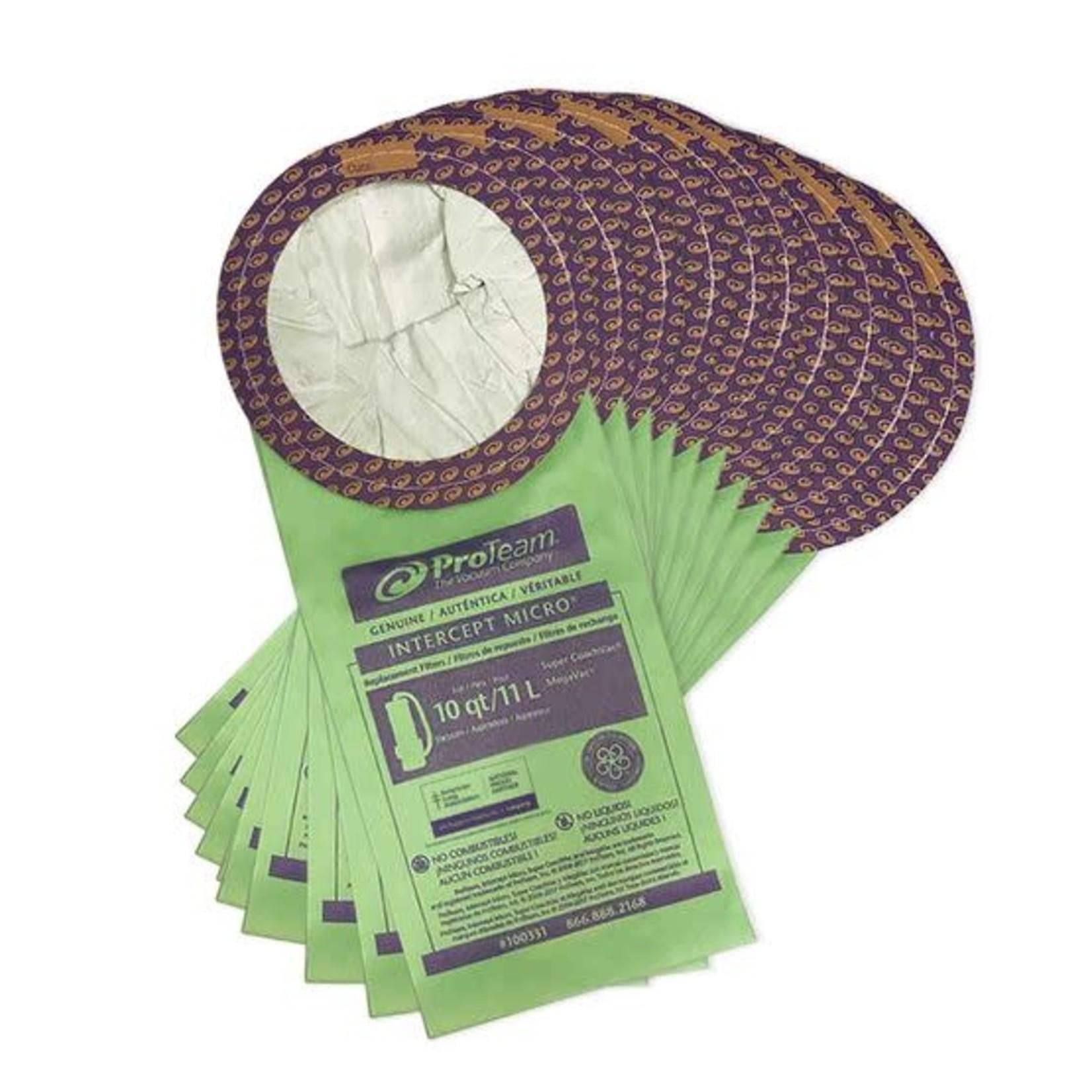ProTeam Commercial Vacuums Intercept Micro Filter Bag, Open Collar, Fits 10 qt. (10 pk.)