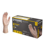 Clear Vinyl Industrial Powdered Disposable Gloves (Box of 100) - SMALL