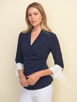 Joseph Ribkoff Wrap Top with Bell Sleeves