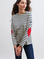 Saint James Striped Top with Heart Elbow Patches