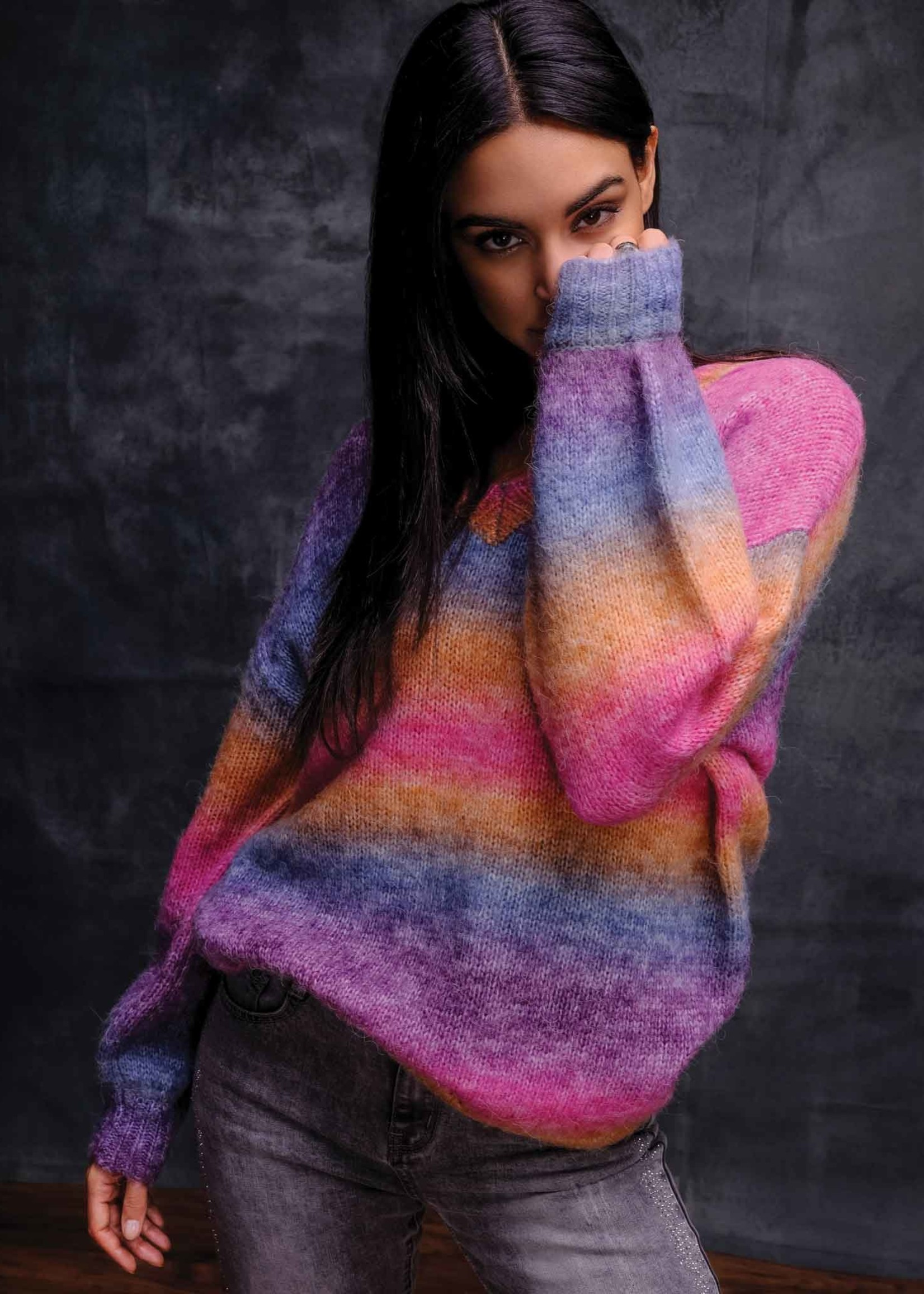 Elena Wang Elena Wang VNeck Multicolour Sweater w/ Cashmere
