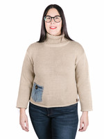 Shannon Passero Turtleneck Pullover w/ Denim Pocket