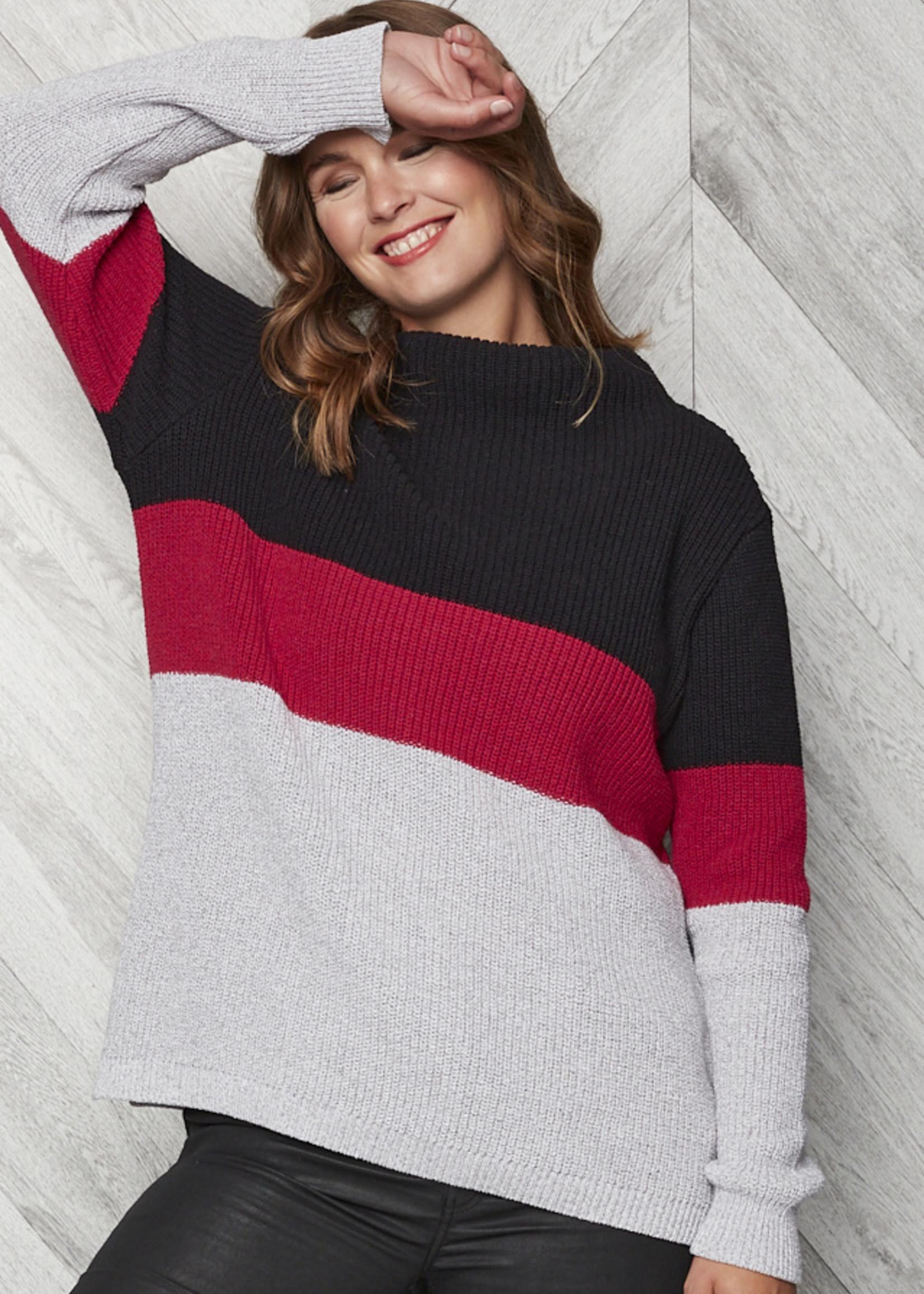 Parkhurst Parkhurst Colour Block Funnel Neck Sweater