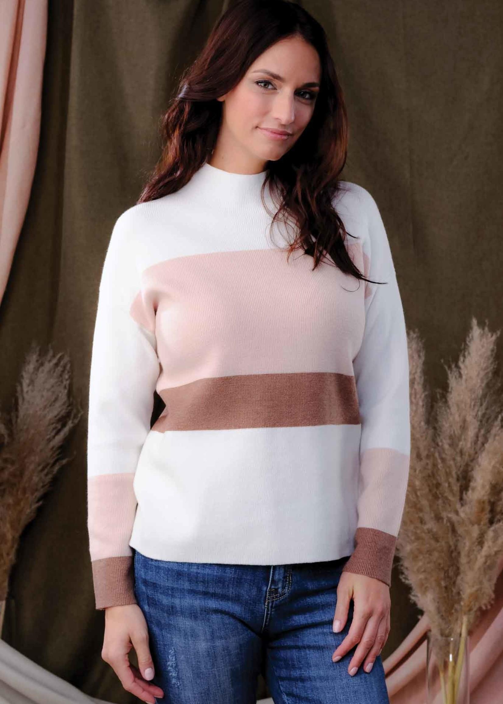 Alison Sheri Alison Sheri Colour Block Mock Neck Sweater