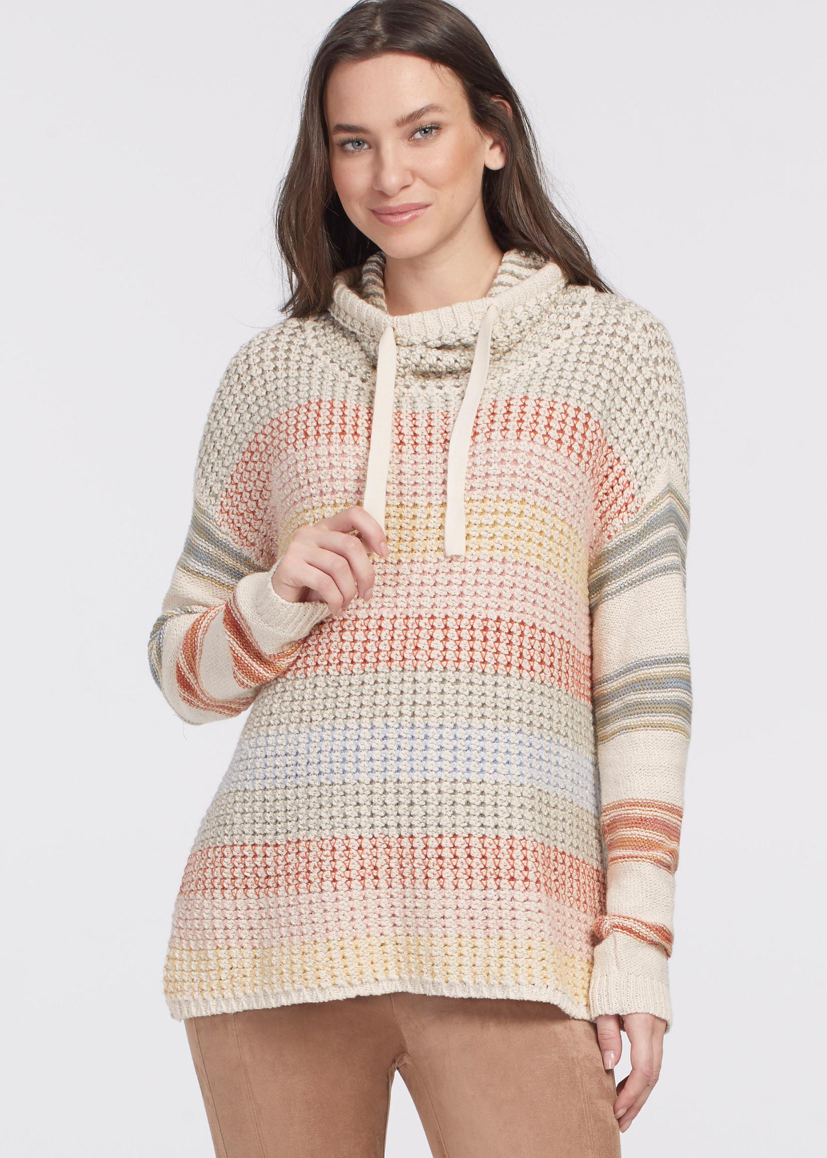 Tribal Tribal Funnel Neck Rainbow Sweater