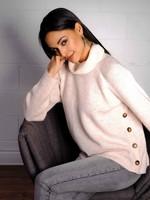 Elena Wang Cowl Neck Sweater w/ Buttons