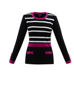 Marble Stripe and Solid Mix Print Sweater