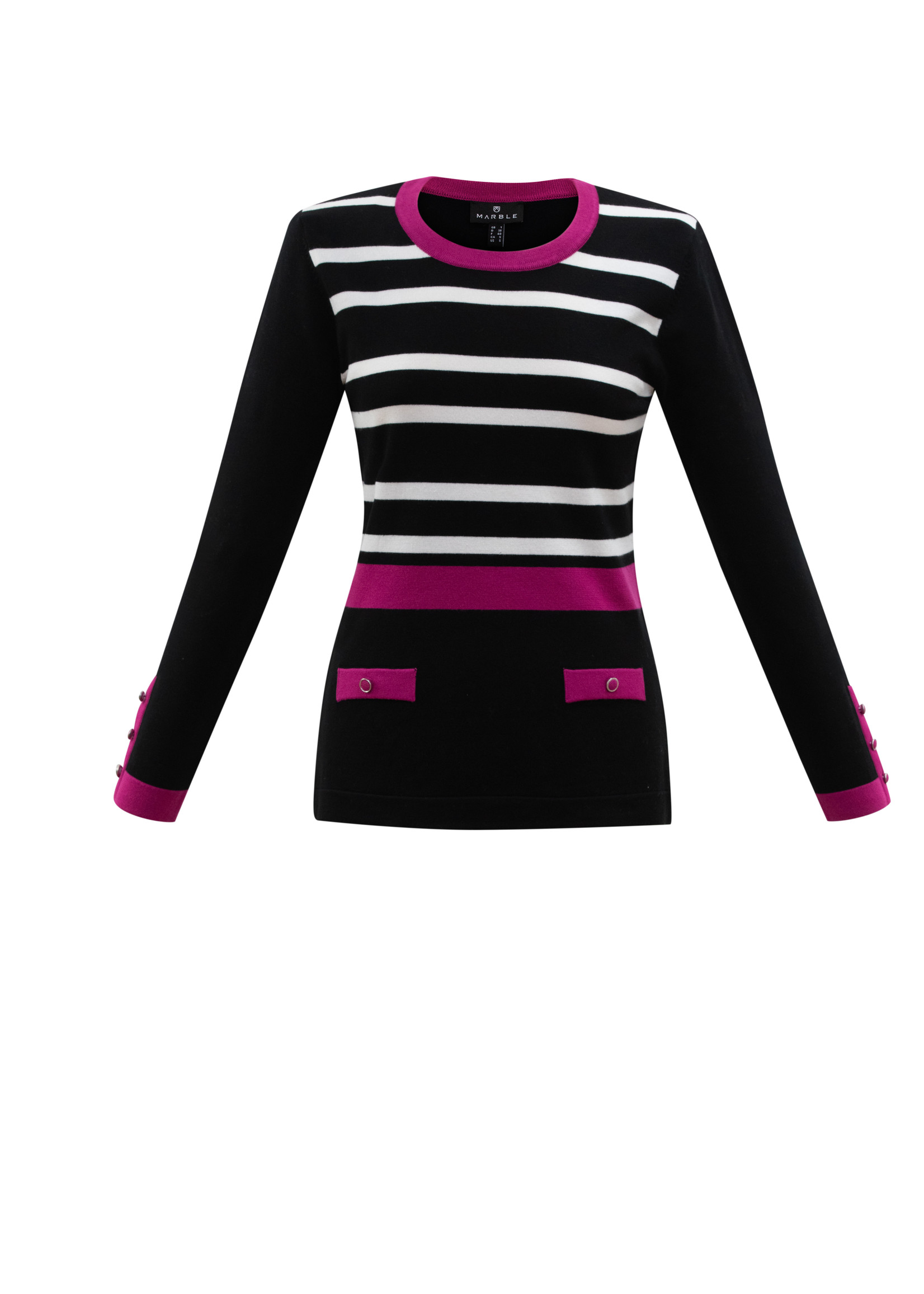 Marble Marble  Stripe and Solid Mix Print Sweater