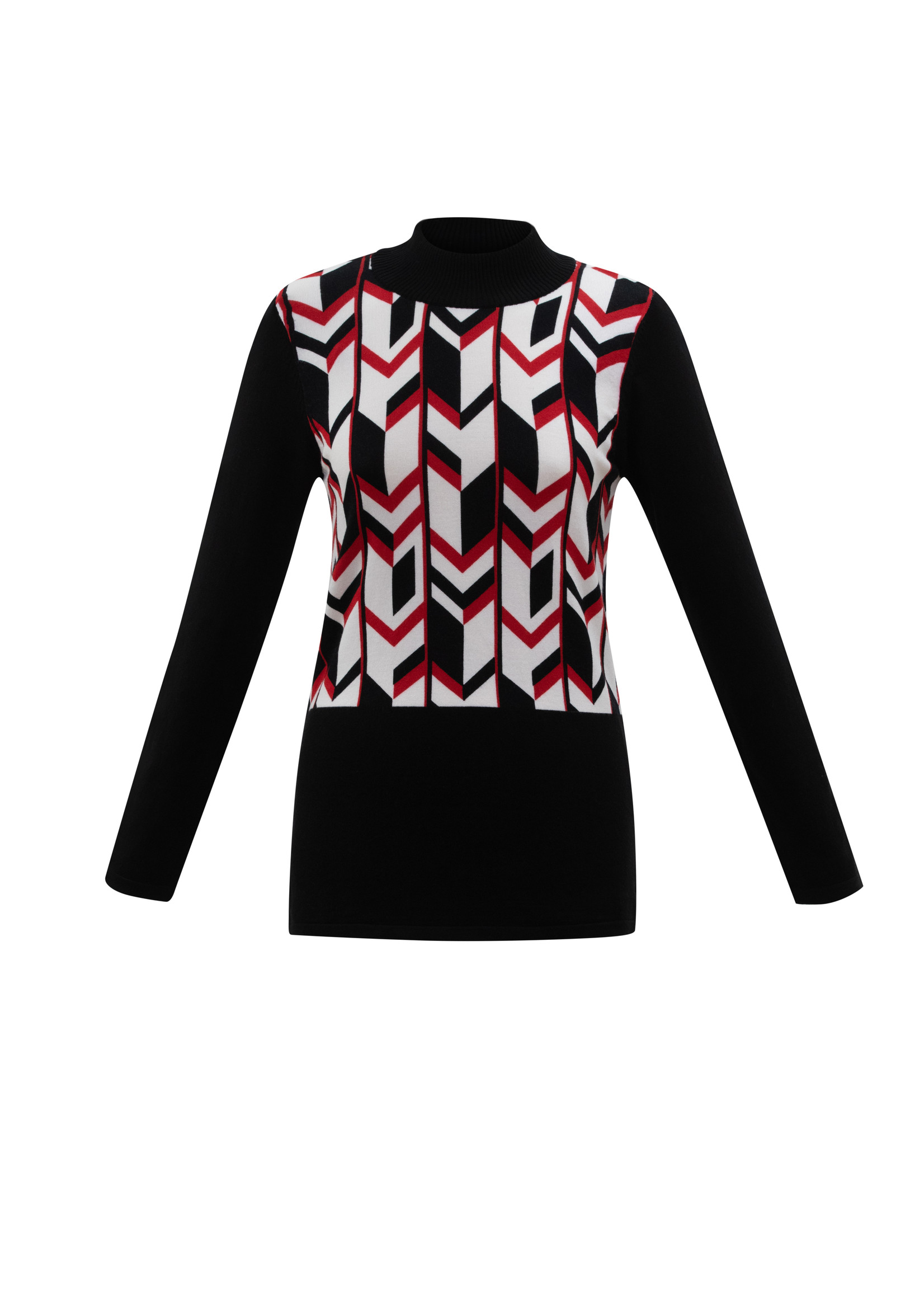 Marble Marble Patterned Mock Neck Sweater