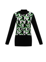 Marble Patterned Mock Neck Sweater